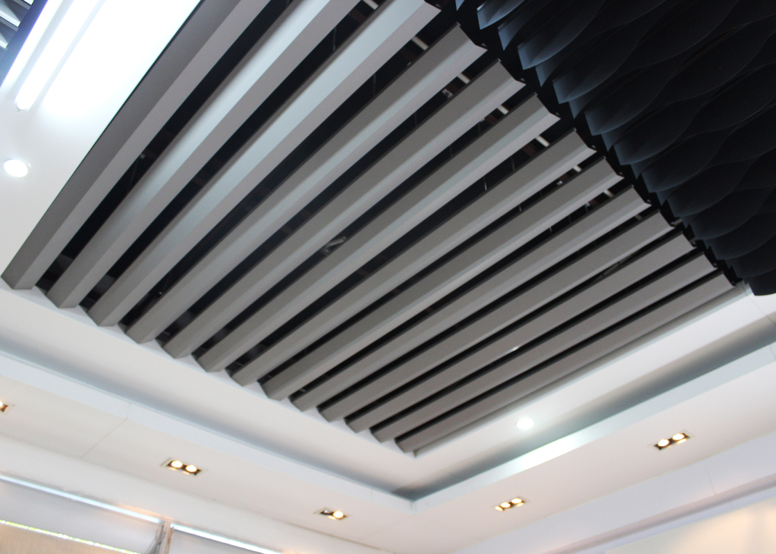 V shaped Open Aluminium Linear Metal Ceiling Space Visual Experience Changing