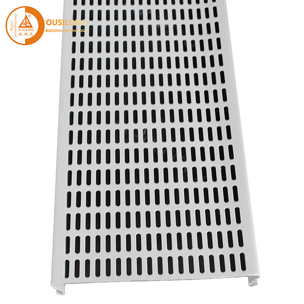 0.8mm Thickness Aluminium Strip Ceiling Panel Commercial Interior Perforated S Shape Hook